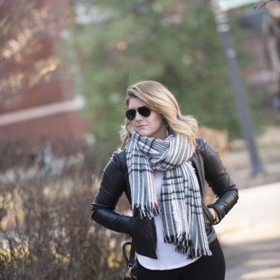 Leather Jacket & Blanket Scarf