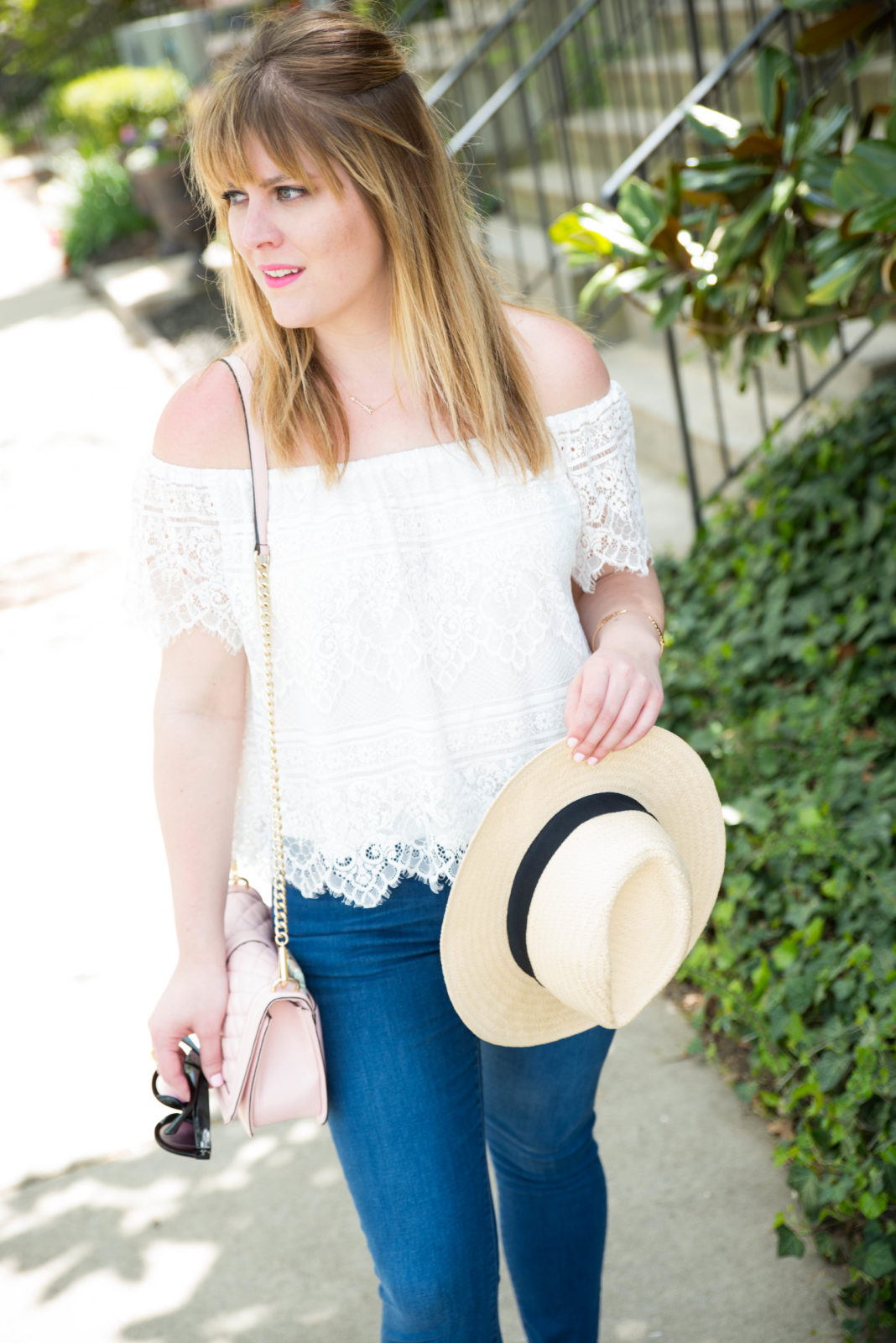 White Off The Shoulder Top-25