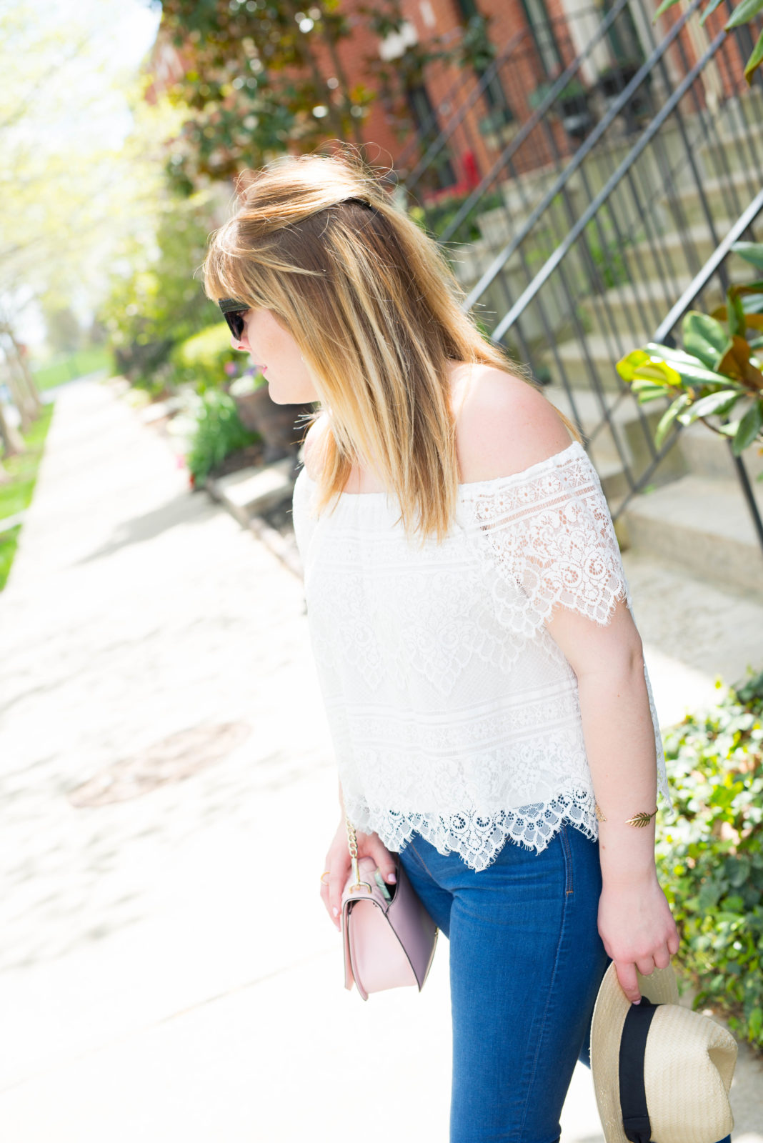 White Off The Shoulder Top-48