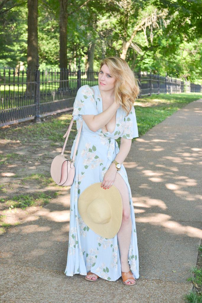Blue Floral Maxi Dress-5