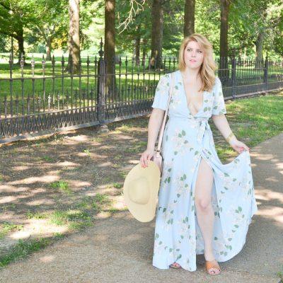 Blue Floral Maxi Wrap Dress
