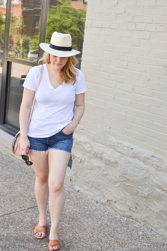 White Tee & Denim Shorts-4