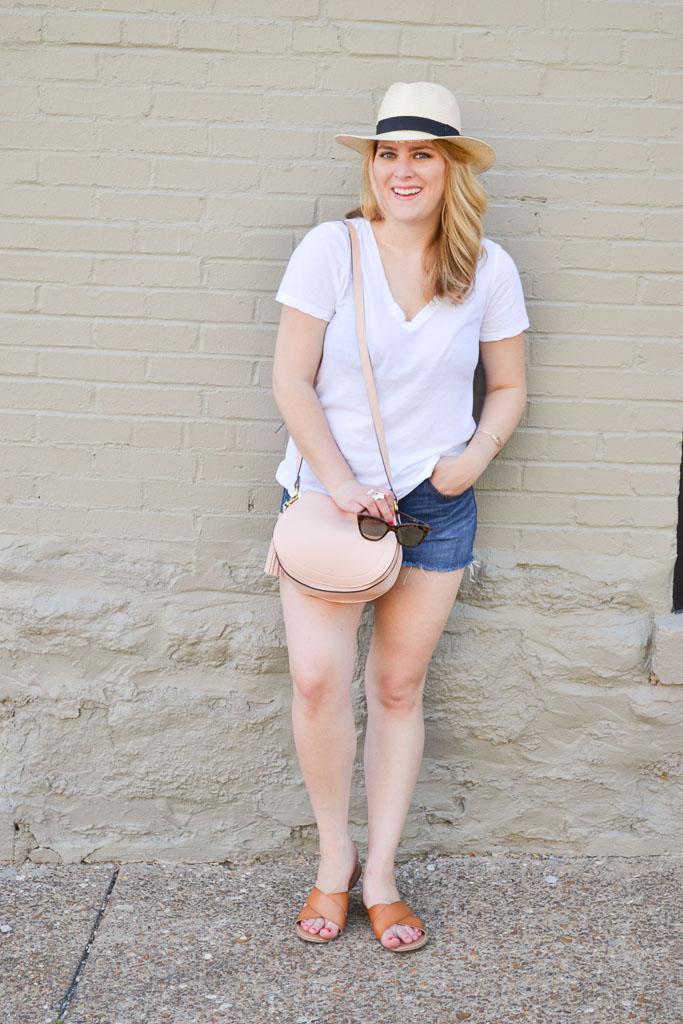 White Tee & Denim Shorts-8