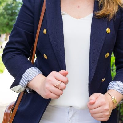 Navy Blazer & White Shorts
