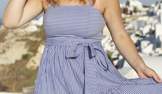 Blue & White Maxi Dress in Santorini