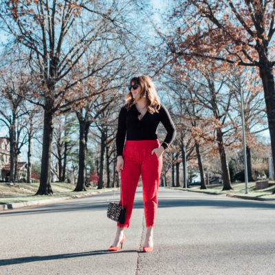 New Year's Eve outfit | Red Lace Pants